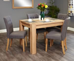 Baumhaus Aston Oak 4 Seater Table and Chair Set 4