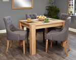 Baumhaus Aston Oak 4 Seater Table and Chair Set 5