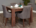 Baumhaus Shiro Walnut 4 Seater Table and Chair Set 4
