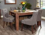 Baumhaus Shiro Walnut 6 Seater Table and Chair Set 4