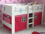 Flexa Jessie white mid sleeper bed with play tent
