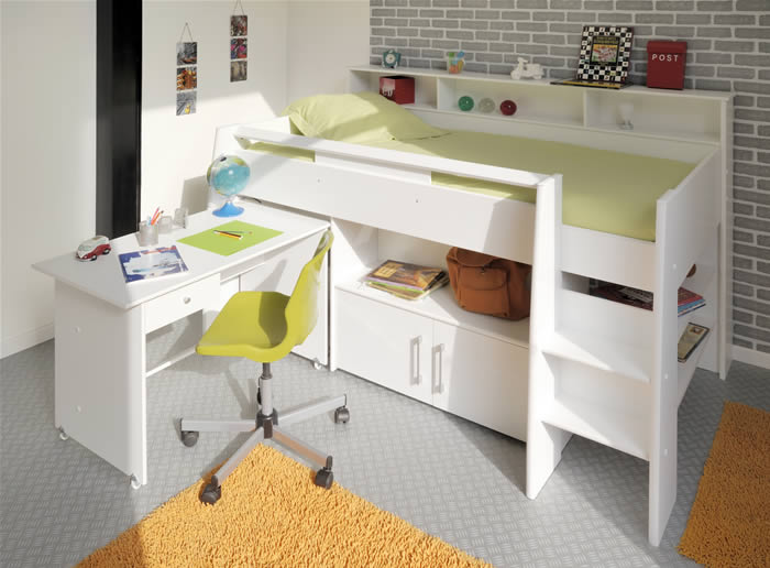 Kids Avenue Swan White Mid Sleeper Bed With Pull Out Desk