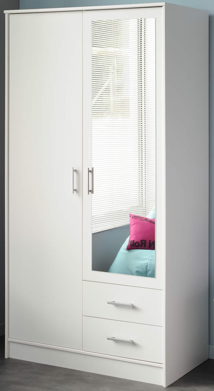 double wardrobe in white with mirror | The Home and Office Stores