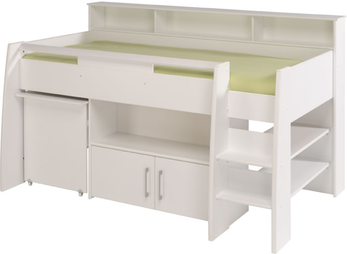 Parisot Swan White Mid Sleeper Bed With Pull Out Desk