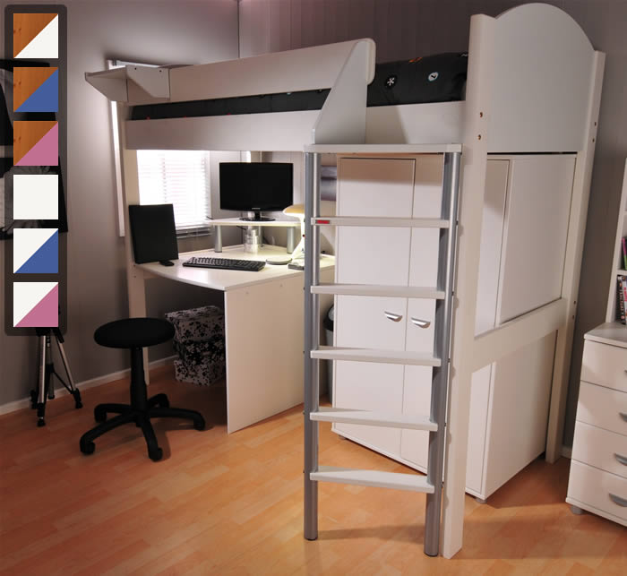 Stompa Casa 12 High Sleeper Bed With Wardrobe And Desk