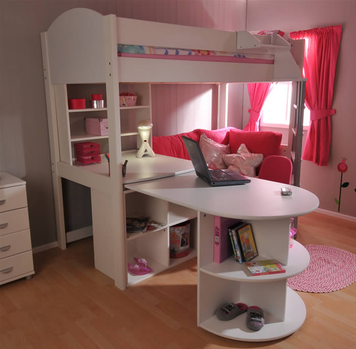 loft bed stompa casa 4 high sleeper bed with pull out. Black Bedroom Furniture Sets. Home Design Ideas
