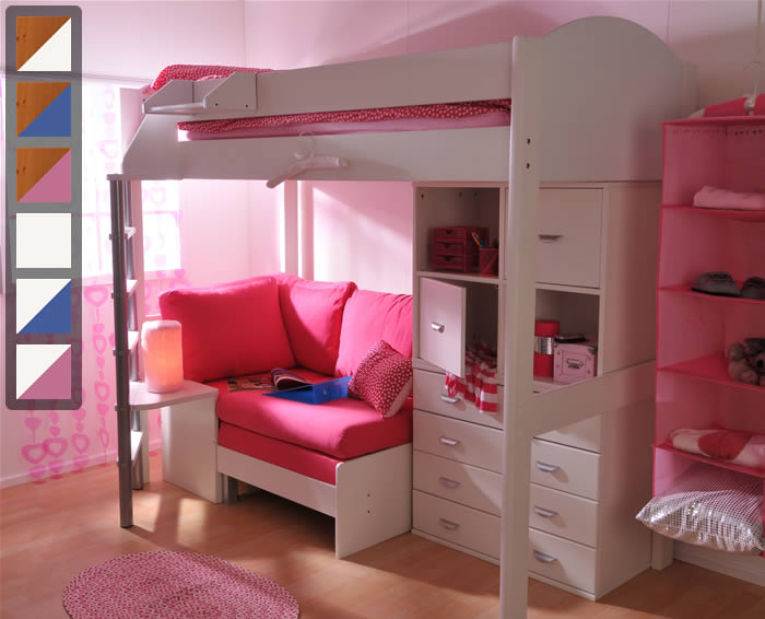 Stompa Casa 6 High Sleeper Bed With Sofa Bed And Drawers