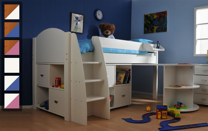 Stompa Rondo 1 mid sleeper cabin bed with storage and desk