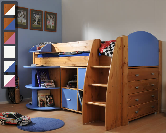 mid sleeper bed with desk and storage | The Home and Office Stores