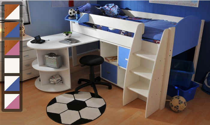 Stompa Rondo 6 mid sleeper cabin bed with pull out desk ...