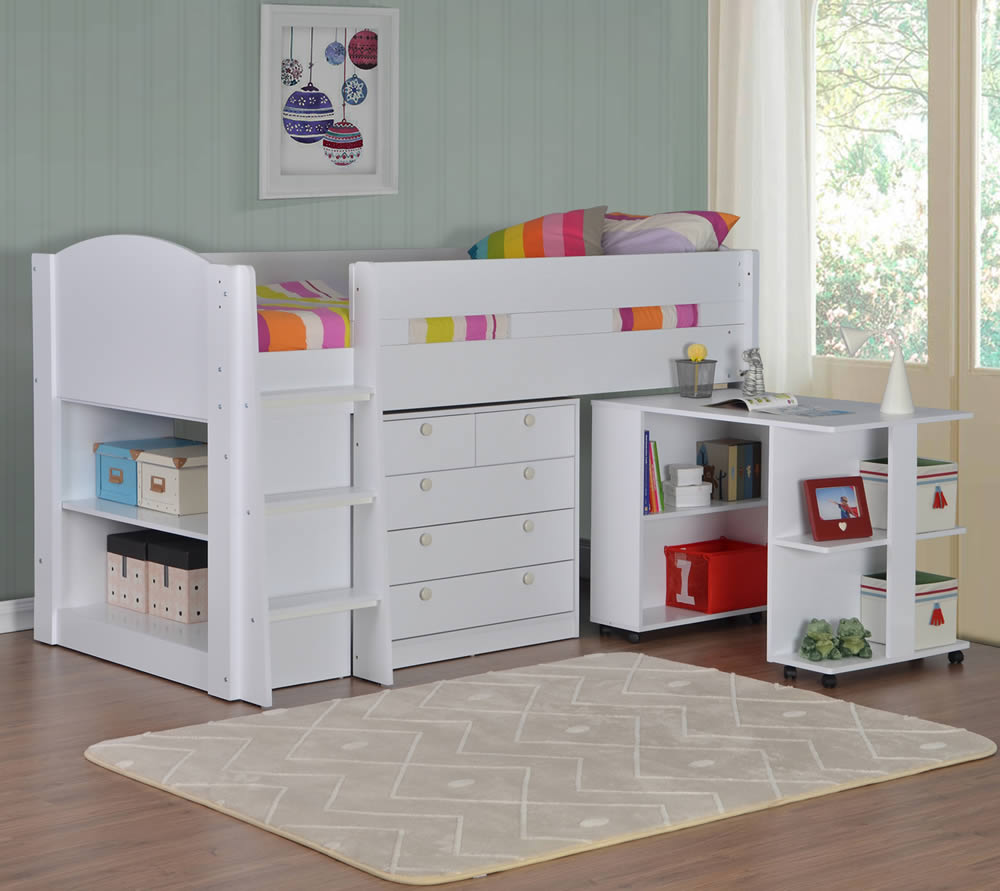 Frankie White Mid Sleeper Bed With Storage P 1557 on White Home Office Furniture