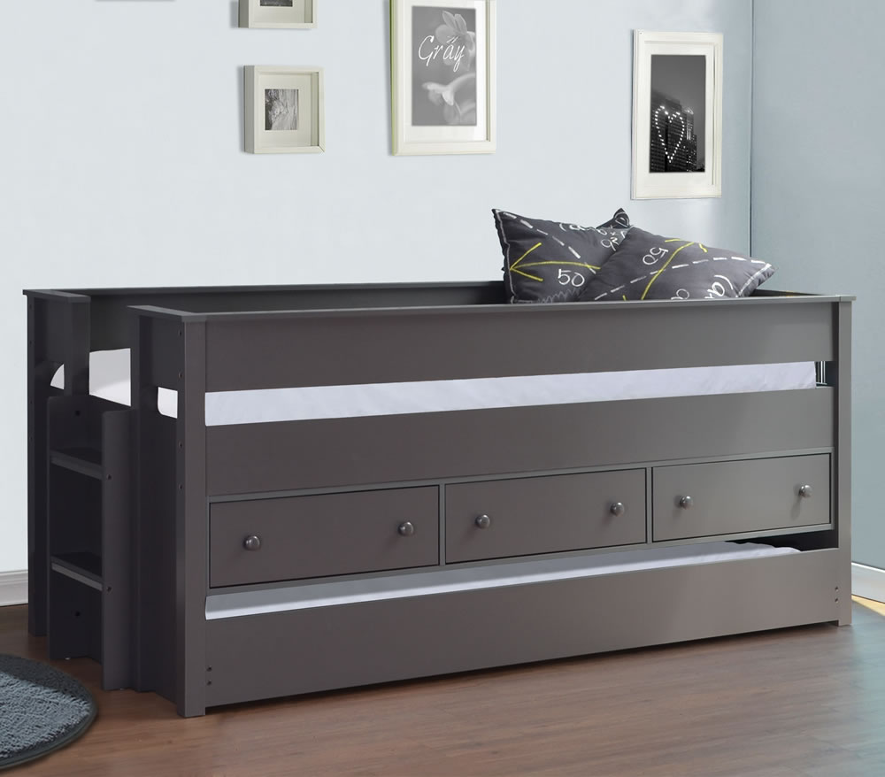 Harper Grey Mid Sleeper Storage Guest Bed Flintshire