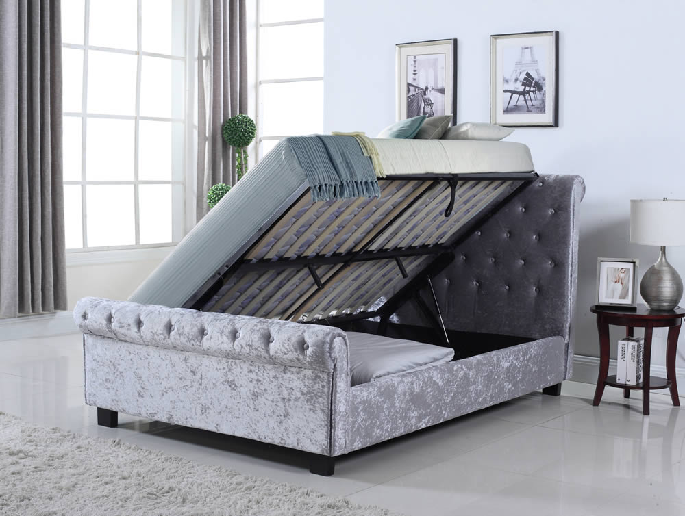 Whitford side ottoman silver crushed velvet bed frame for Bedroom ideas velvet bed