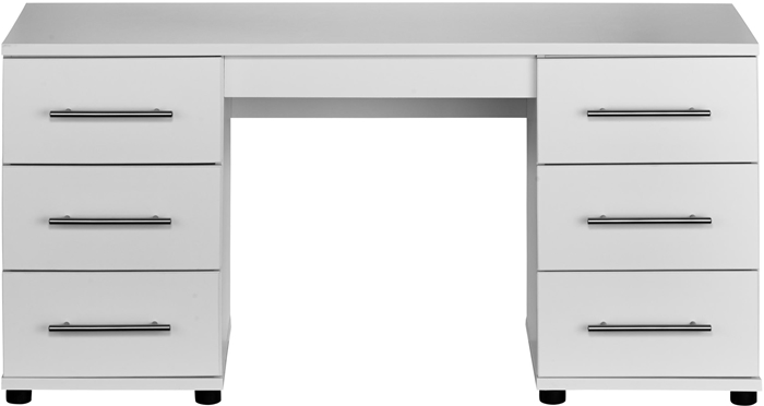 Dressing table double ped 6 drawers white for White dressing table with drawers