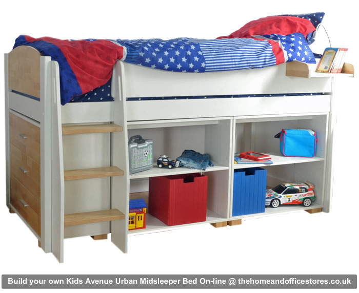 Kids avenue urban midsleeper bed build your own for Urban home beds