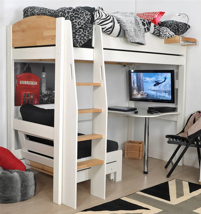 high sleeper bed white birch kids avenue urban 1. Black Bedroom Furniture Sets. Home Design Ideas