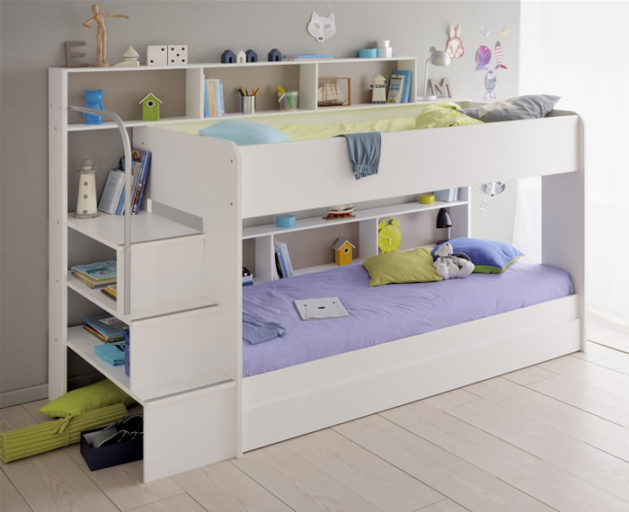 High Quality Kids Avenue Bibop 2 White Bunk Bed With Shelves