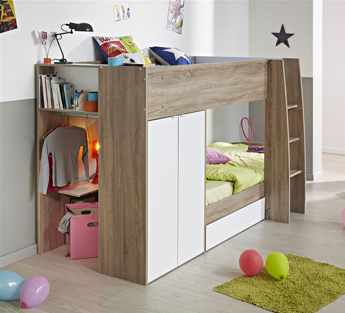 Parisot Stim Bunk Bed With 2 Door Wardrobe
