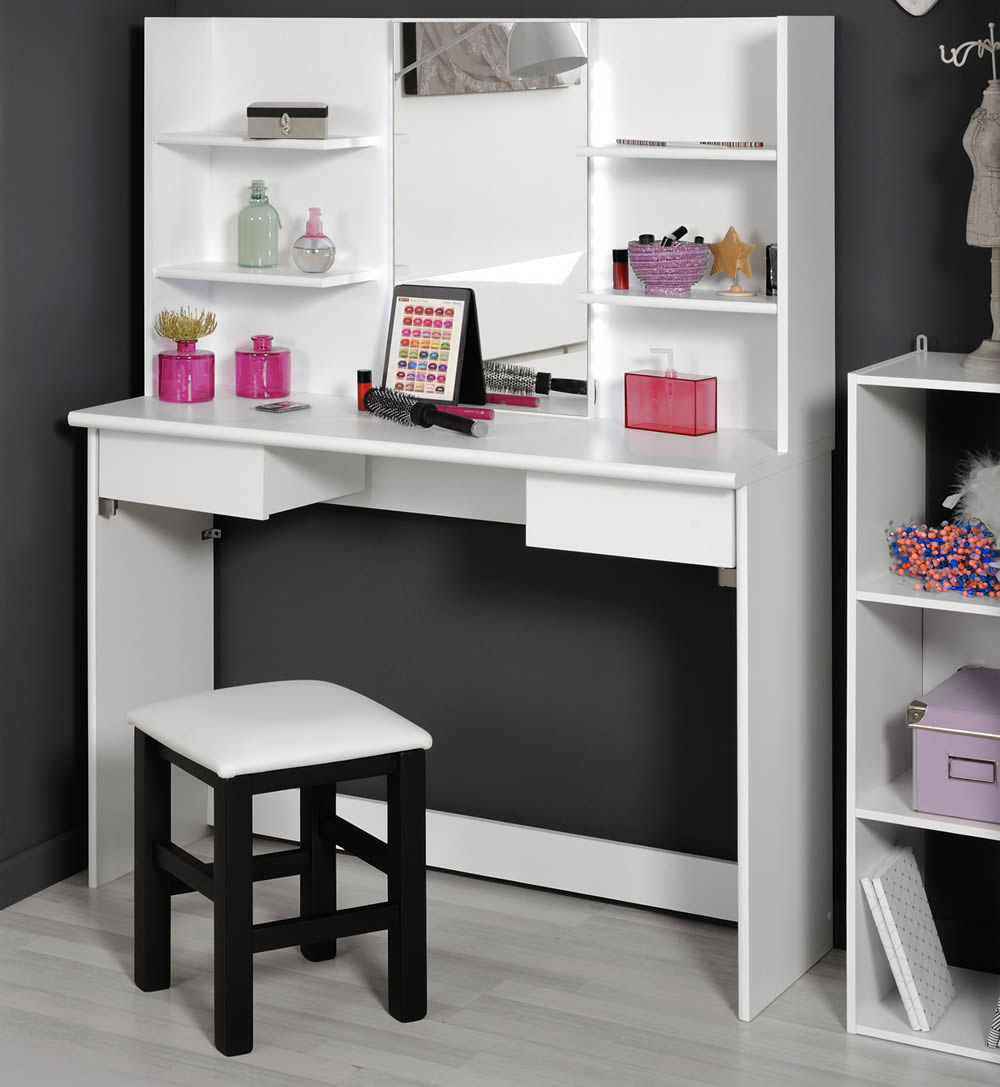 Parisot beauty bar dressing table stool for Beauty parlour dressing table images