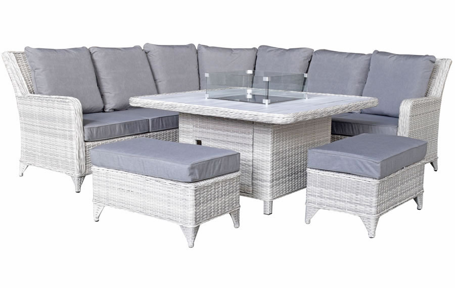 Rattan Corner Sofa With Gas Fire Pit, Rattan Garden Furniture With Gas Fire Pit Table