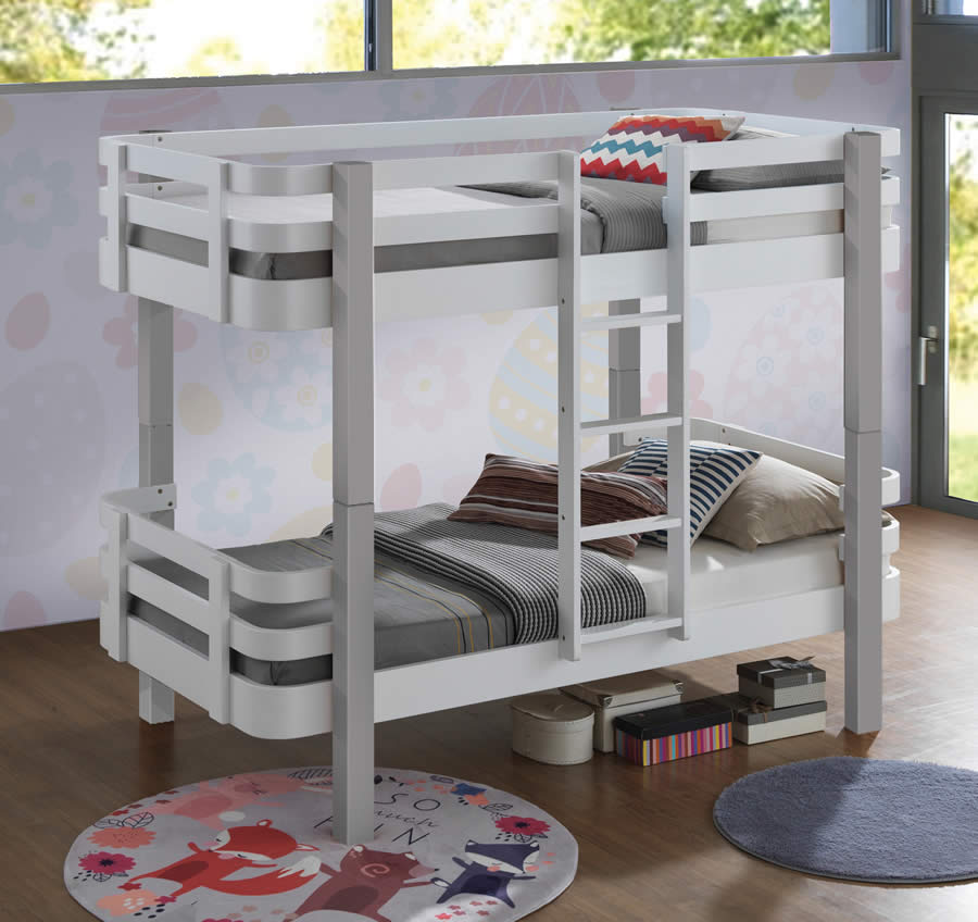 Sweet Dreams Trendy White Grey Bunk Bed The Home And Office Stores
