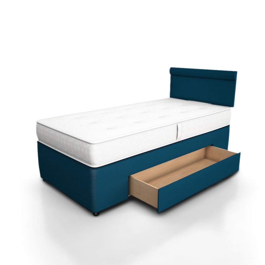 Potter divan storage bed 1 large side drawer the for Cheap single divan with drawers