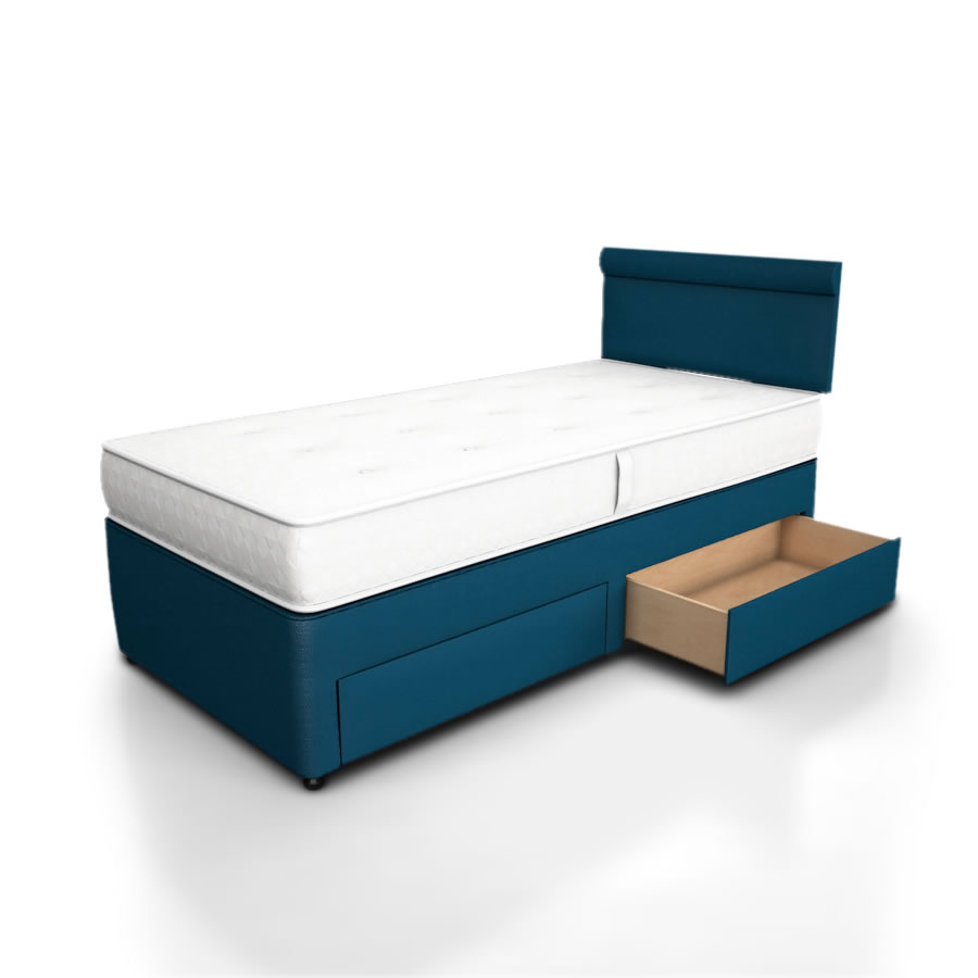 Single divan with drawers potter divan storage bed 2 side for Single divan with drawers and headboard