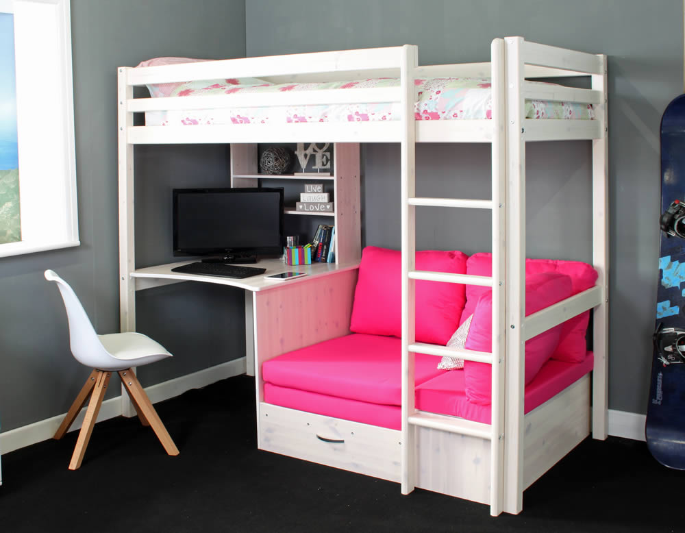 hit 7 high sleeper bed with pink chair bed. Black Bedroom Furniture Sets. Home Design Ideas