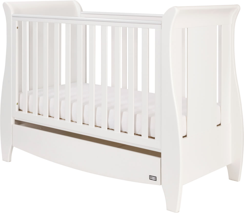 - Tutti Bambini Katie Space Saver White Sleigh Cot Bed With Drawer
