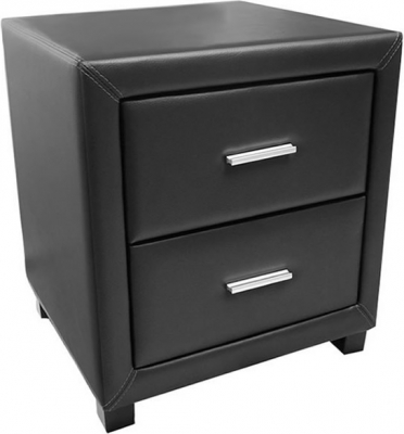 Time Living Dorset Black 2 Drawer Bedside Cabinet