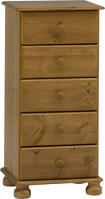 Steens Richmond 5 drawer narrow chest in pine