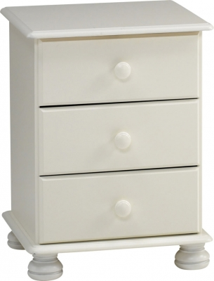 Steens Richmond 3 drawer bedside unit in white