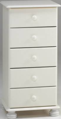 Steens Richmond 5 drawer narrow chest in white