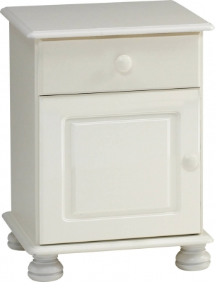 Steens Richmond 1 drawer 1 door bedside cupboard in white