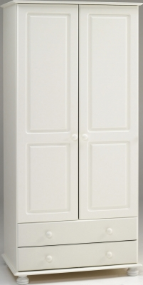 Steens Richmond 2 door 2 drawer wardrobe in white