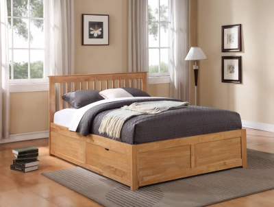 Flintshire Furniture Pentre Hardwood Oak Fixed Drawer Bed Frame