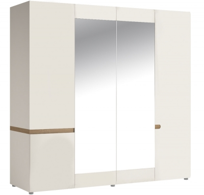 FTG Chelsea 4 Door Wardrobe 2 Mirrored Doors