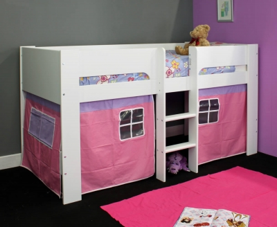 Flexa Abigail White Mid Sleeper Bed with Play Tent