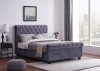 Whitford Side Ottoman Plush Velvet Grey Bed