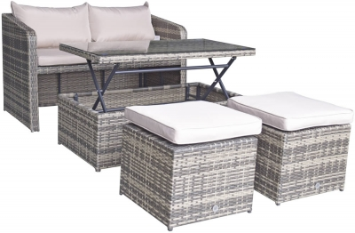 Signature Weave Gemma Brown Stacking Compact Sofa Garden Dining Set
