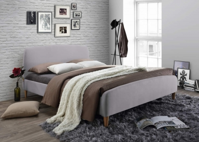 Time Living Geneva Light Grey Fabric Bed