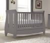 Tutti Bambini Lucas Cool Grey Sleigh 3 in 1 Cot Bed with Drawer