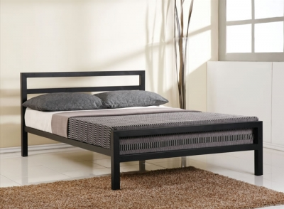Time Living City Block Black Metal Bed Frame