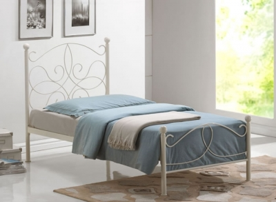 Time Living Melissa Ivory Metal Bed Frame