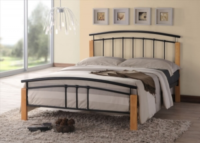 Time Living Tetras Black and Beech Metal Bed Frame
