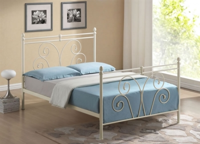 Time Living Wallace Ivory Metal Bed Frame