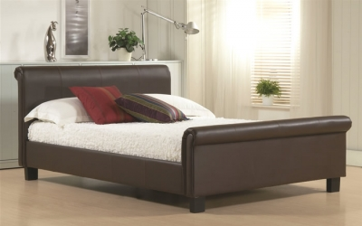Time Living Aurora Brown Sleigh Bed