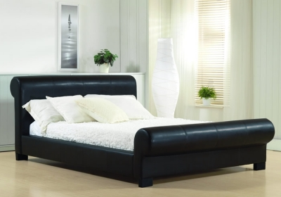 Time Living Valencia Black Faux Leather Sleigh Bed
