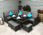 Signature Weave Charlotte Grey Corner Sofa Garden Dining Set