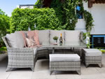 Sarah Corner Sofa Grey Weave Garden Dining Set